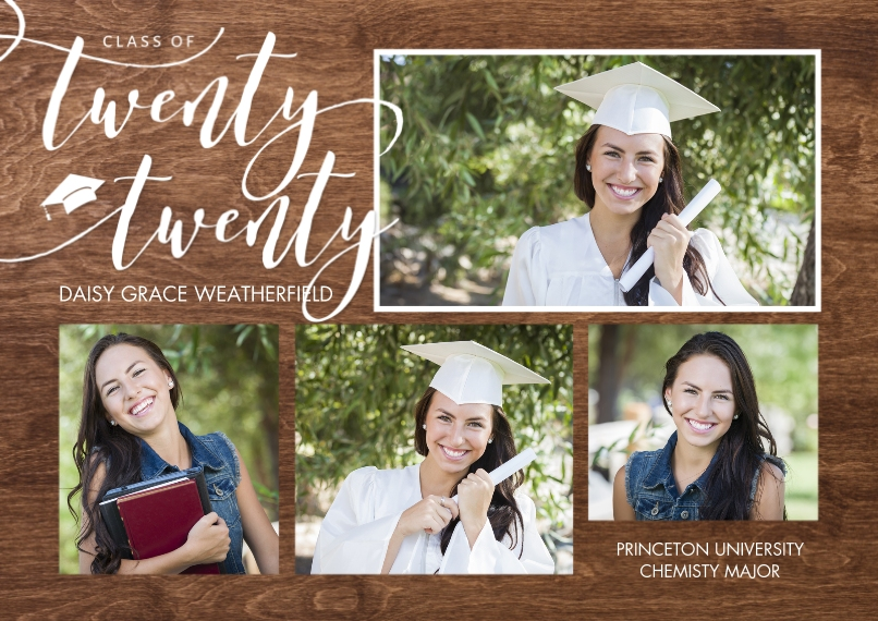 2020 Graduation Announcements 5x7 Cards, Premium Cardstock 120lb with Rounded Corners, Card & Stationery -Grad Twenty Twenty Memories by Tumbalina