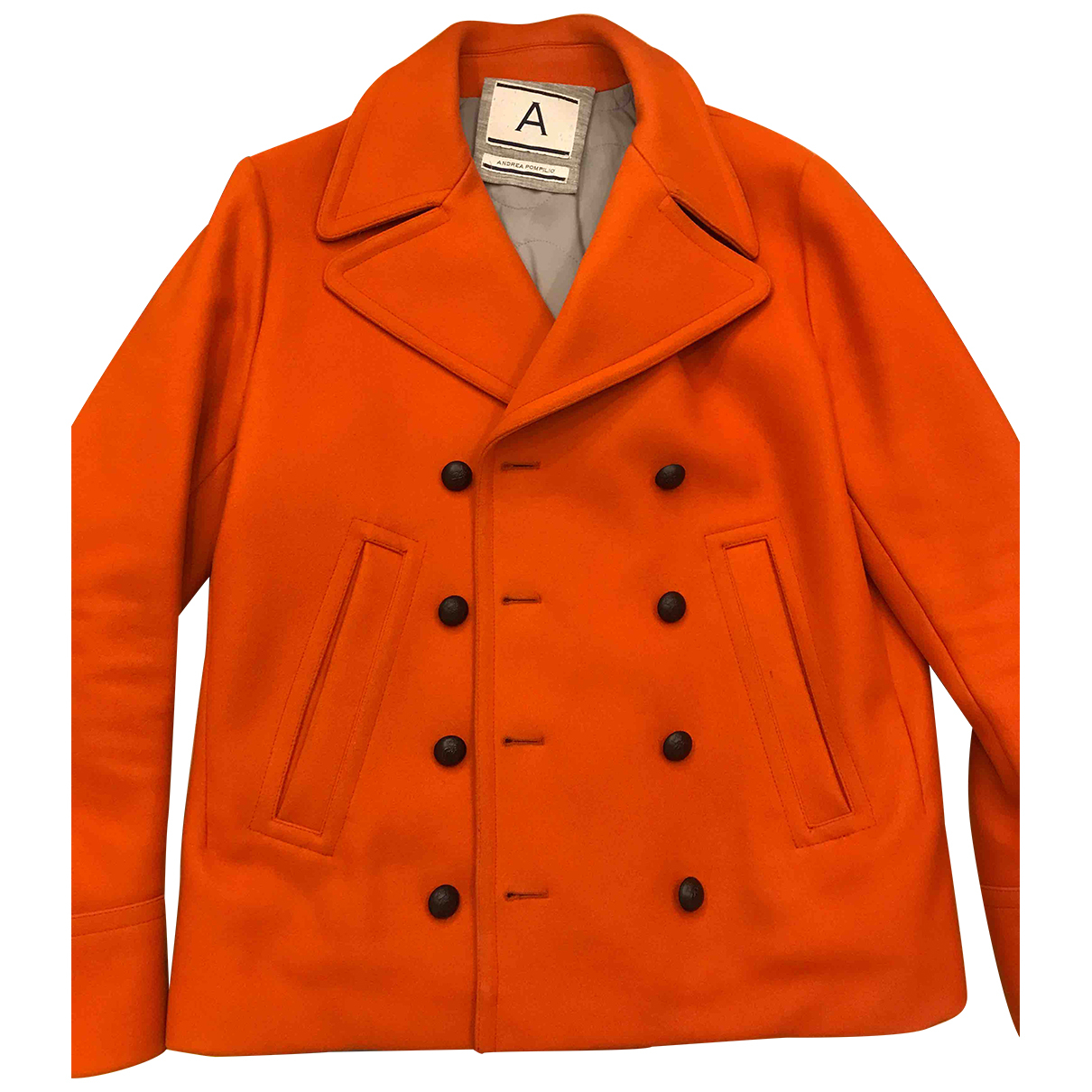 Andrea Pompilio - Manteau   pour homme en laine - orange