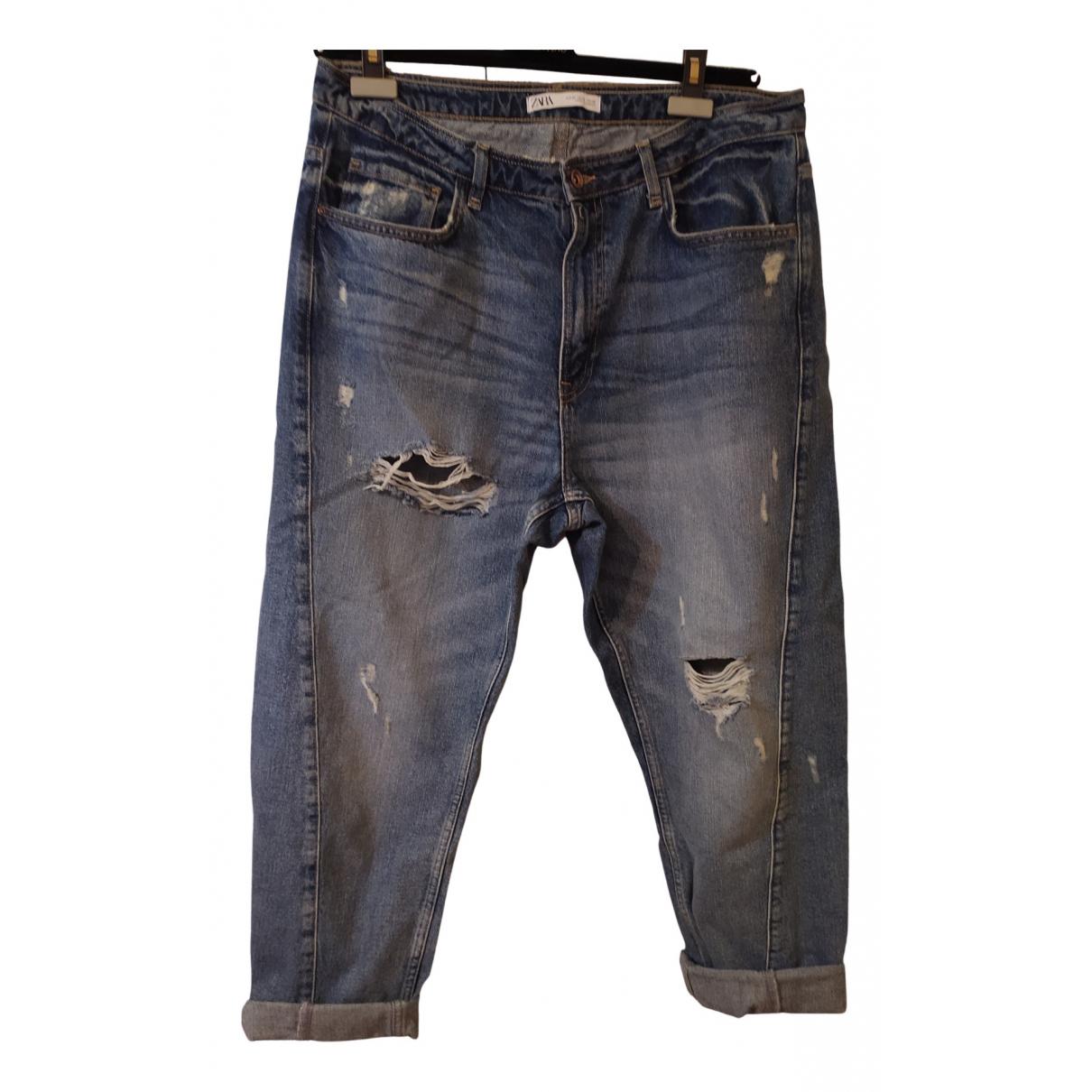 Zara N Blue Cotton Jeans for Women 42 FR
