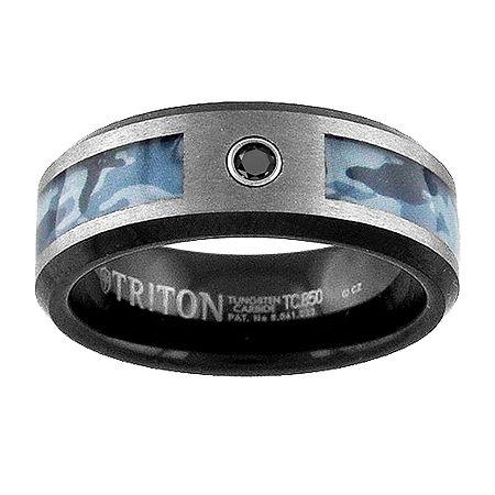 8MM Diamond Accent Genuine Black Diamond Tungsten Round Wedding Band, 12 , No Color Family