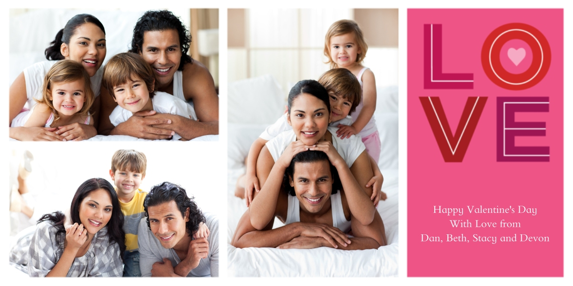 Valentine's Cards Flat Matte Photo Paper Cards with Envelopes, 4x8, Card & Stationery -LOVE