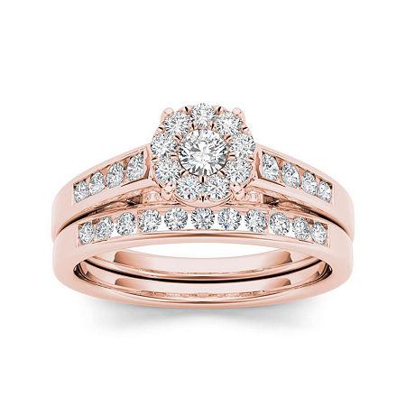 1/2 CT. T.W. Diamond 10K Rose Gold Bridal Ring Set, 9 , No Color Family