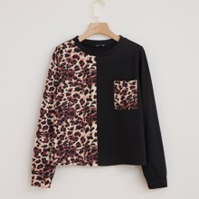 Leopard Print Colorblock Pocket Front Sweatshirt