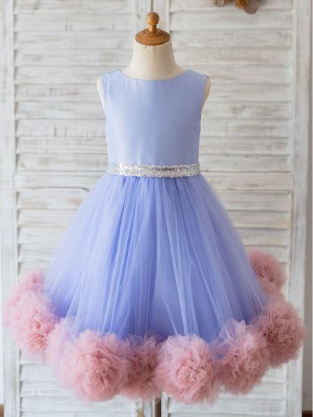 Milanoo Flower Girl Dresses Jewel Neck Tulle Sleeveless Knee-Length Princess Silhouette Sash Kids Social Party Dresses