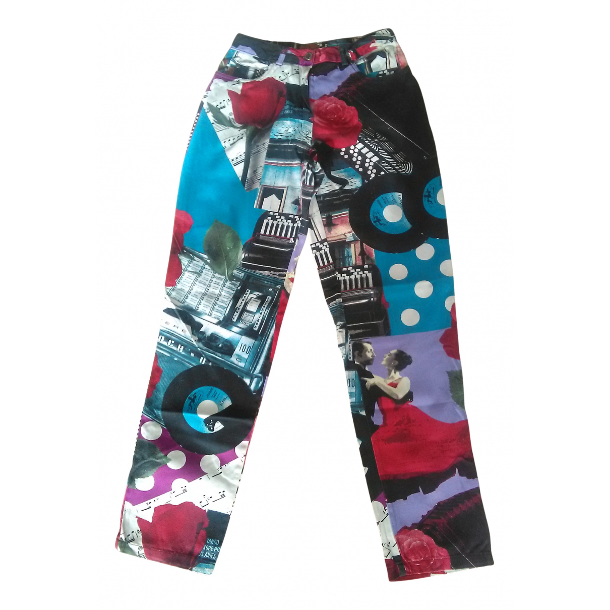 Non Signé / Unsigned N Multicolour Cotton Trousers for Women 38 FR