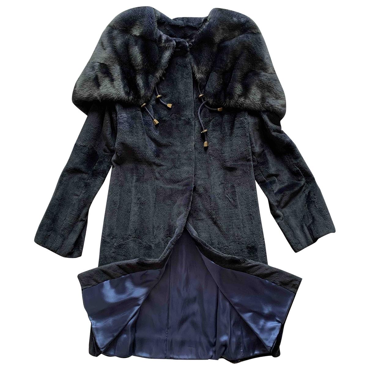 - Manteau   pour femme en vison - bleu