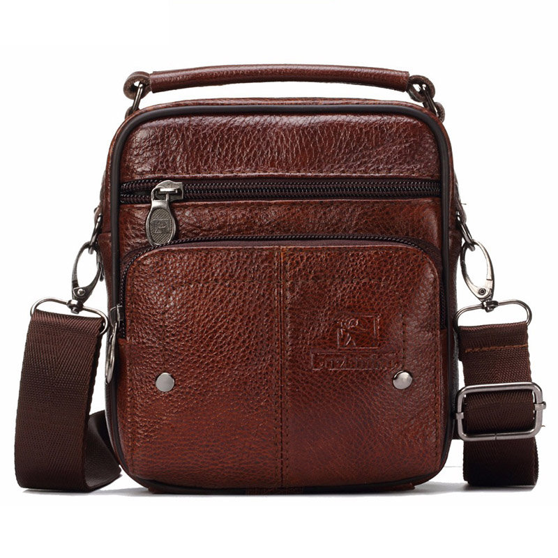 Men Genuine Leather Vintage Messenger Bag Casual Shoulder Bag Wasit Bag