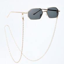1 Stueck Maenner Sonnenbrille mit vieleckigem Rahmen & 1 Stueck Brillenkette