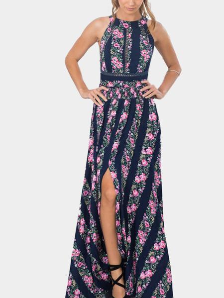 Yoins Floral Print Stripe Pattern Sleeveless Backless Self-tie Side Split Maxi Dress
