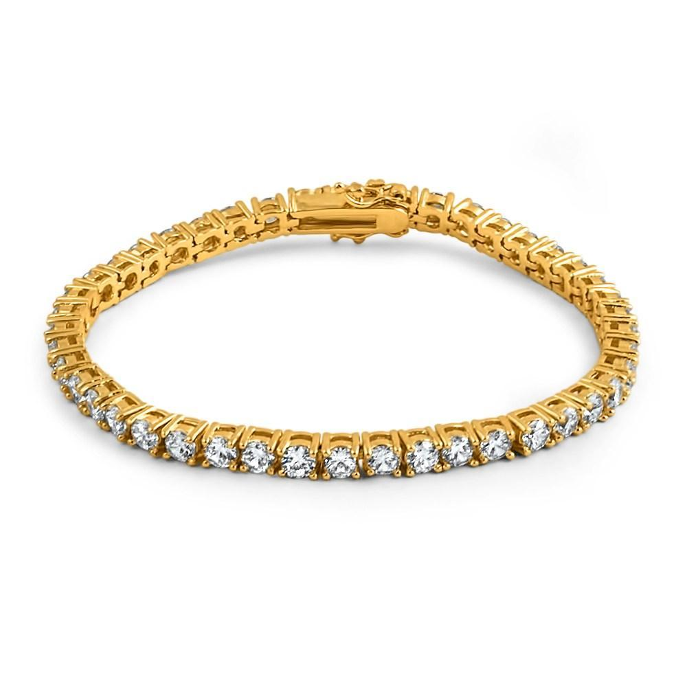 4MM CZ 1 Row Bling Bling Tennis Bracelet Gold