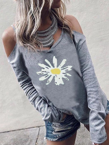 Yoins Daisy Print Cold Shoulder Long Sleeves Tee