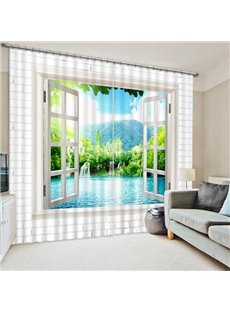 3D Waterfall and Green Trees Printed Thick Polyester Natural Scenery Blackout Curtain