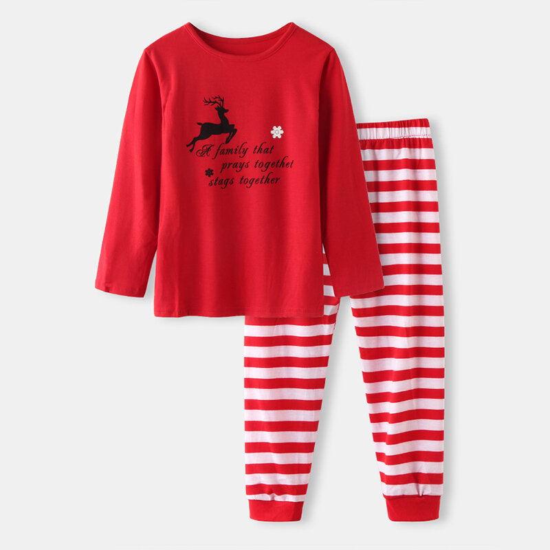 Kid's Christmas Striped Print Casual Pajama Set For 1-10Y