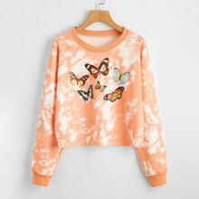 Tie Dye Butterfly Print Sweatshirt