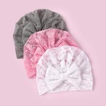 3 Stuecke Baby Hut mit Schleife Dekor