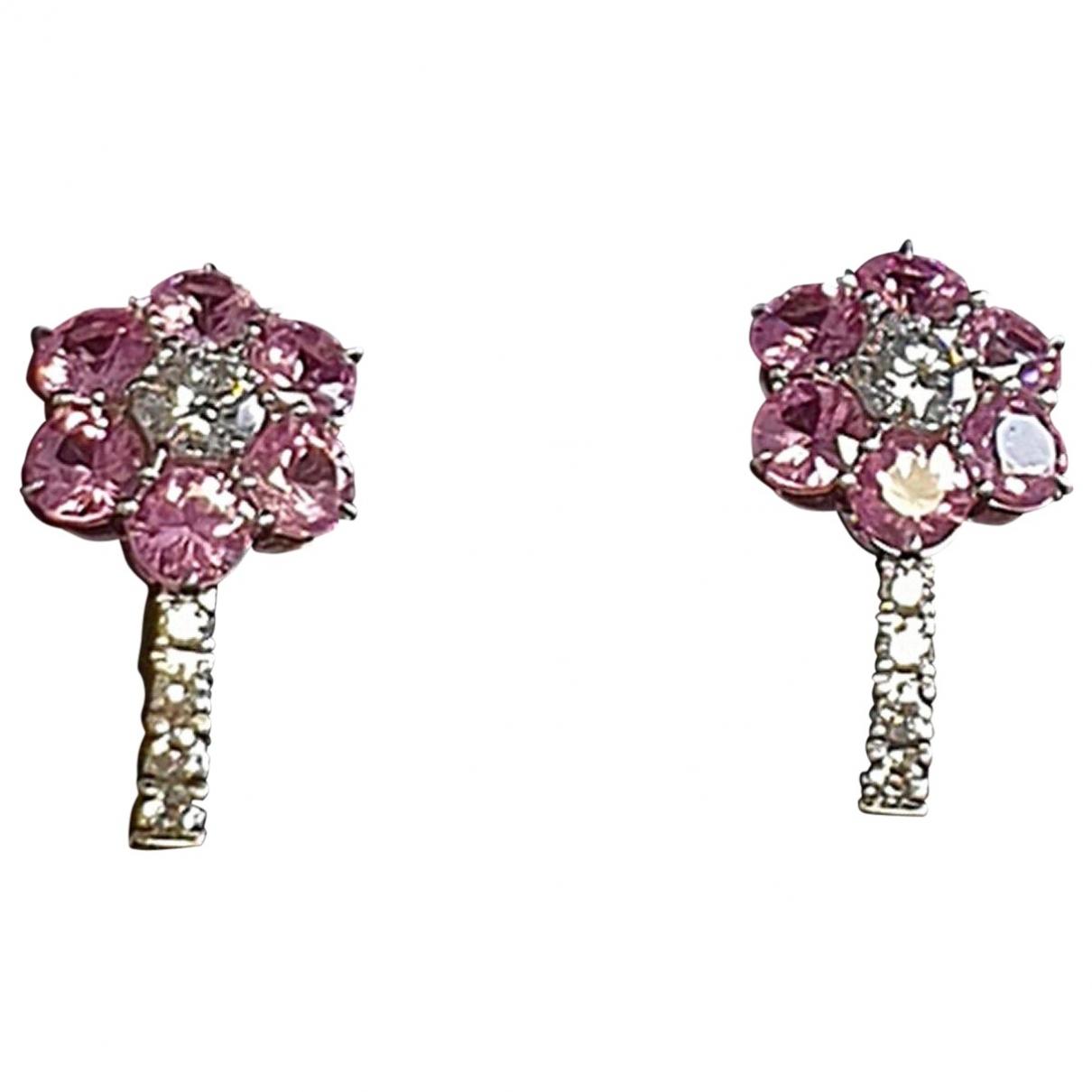 - Boucles doreilles   pour femme en or blanc - rose