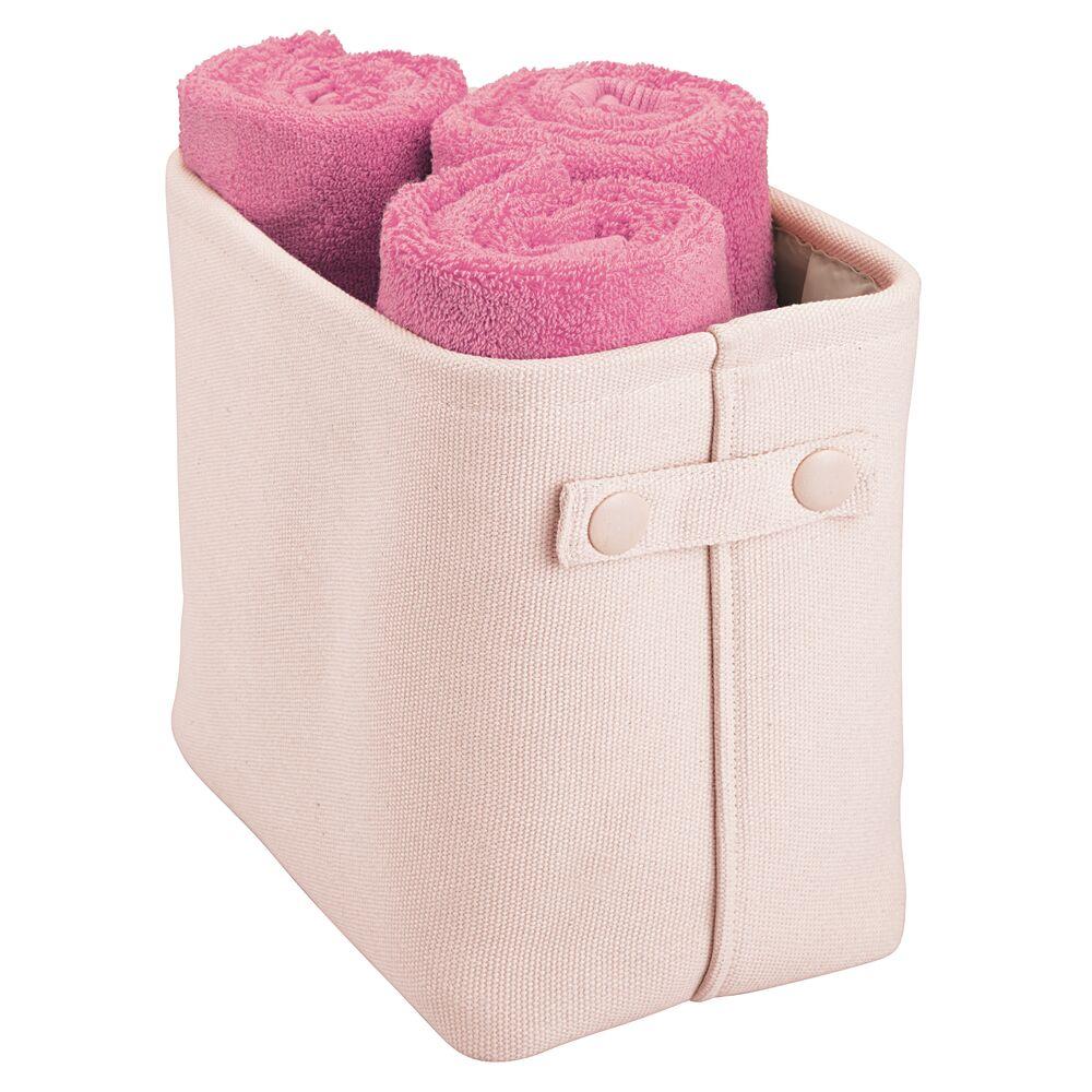 Tall Fabric Bathroom Storage Bin with Handles in Light Pink, 10.5