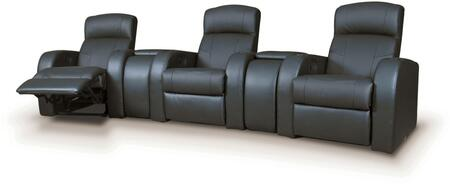 Cyrus Collection 600001SET 5 PC Living Room Set with 3 Recliners + 2 Wedges in Black