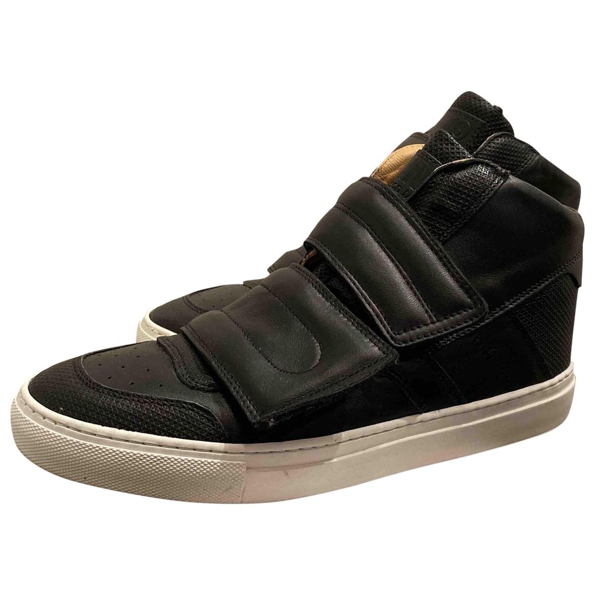Mm6 - Baskets   pour femme en cuir - noir