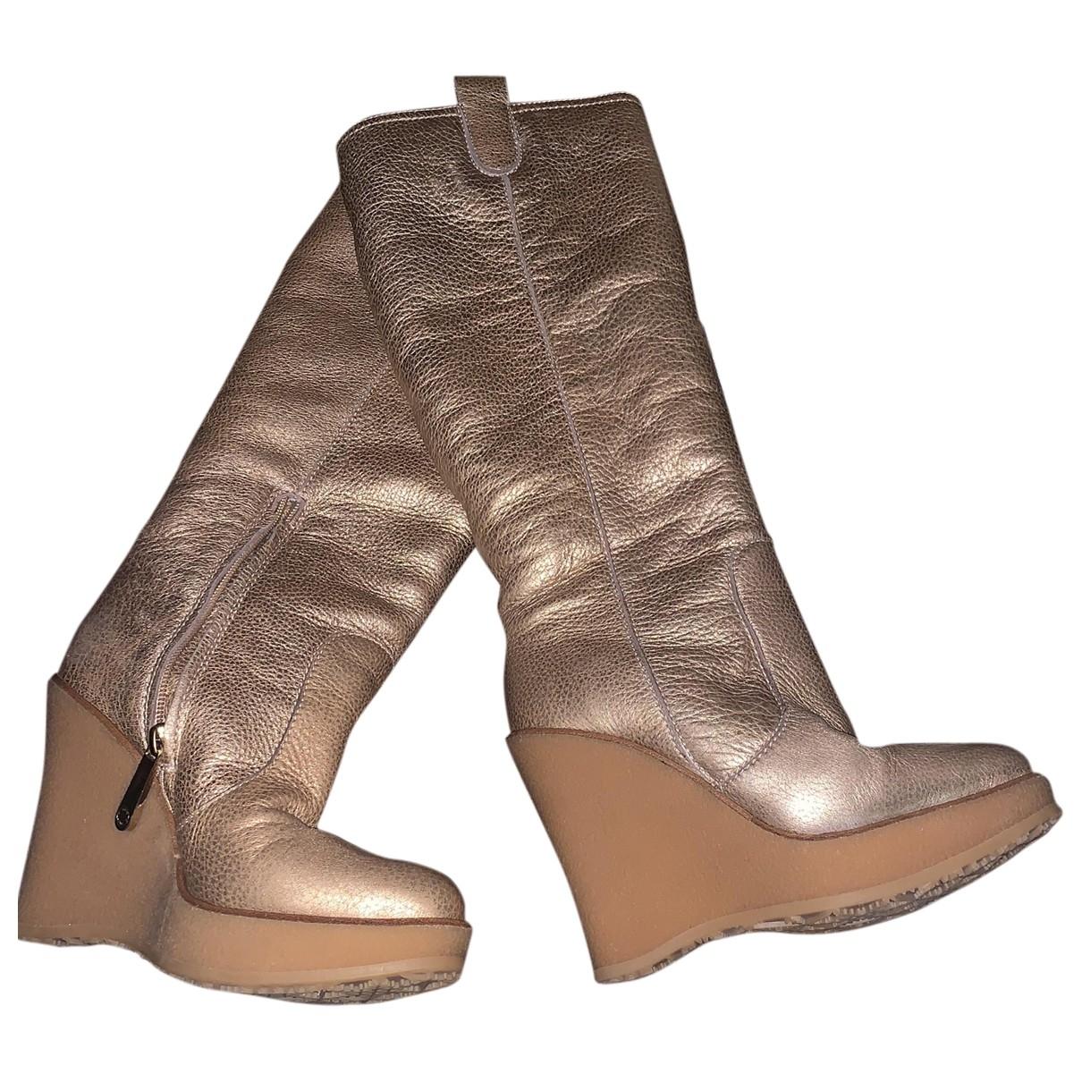 Bally \N Stiefel in  Gold Mongolisches Lamm