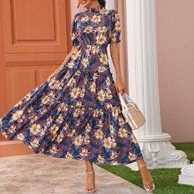 Floral Print Frill Trim Swing Dress