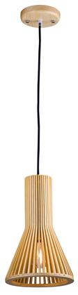 CL08 1-Light Single Pendant Lighting with Wood Materials and 60 Watts in Wood