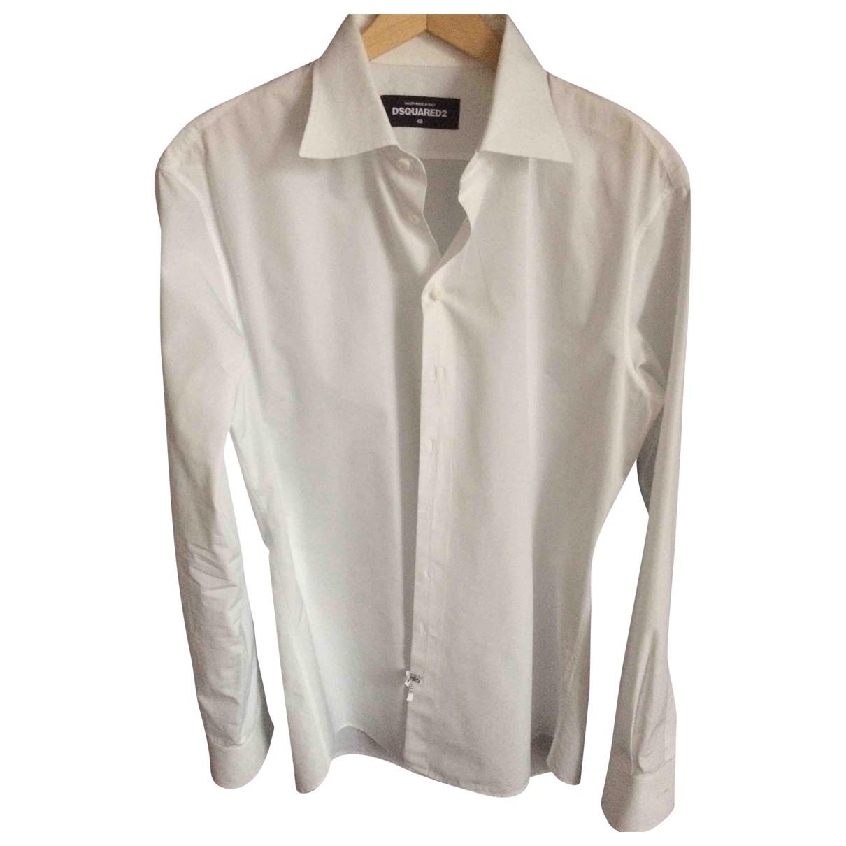 Dsquared2 \N White Cotton Shirts for Men 40 EU (tour de cou / collar)