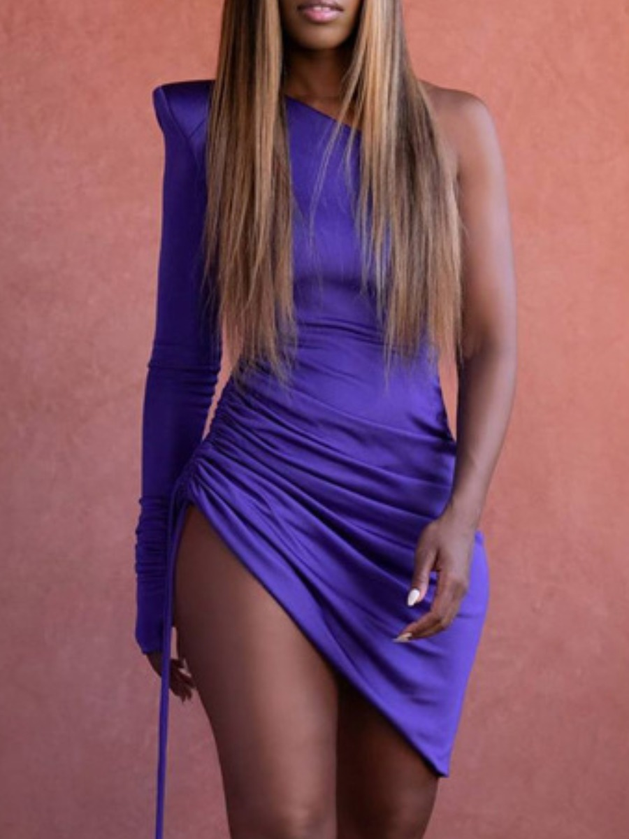 LW lovely Trendy One Shoulder Fold Design Purple Knee Length Dress