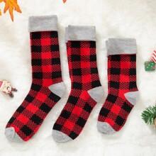 3 Paare Eltern-Kleinkind Kinder Socken mit Karo Muster