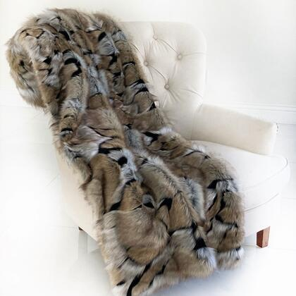 Wild Wolf Collection PBSF1514-114x120 114L x 120W King Taupe and Black Plush Handmade Luxury Faux Fur