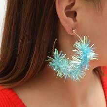 Christmas Colorful Ribbon Decor Cuff Hoop Earrings