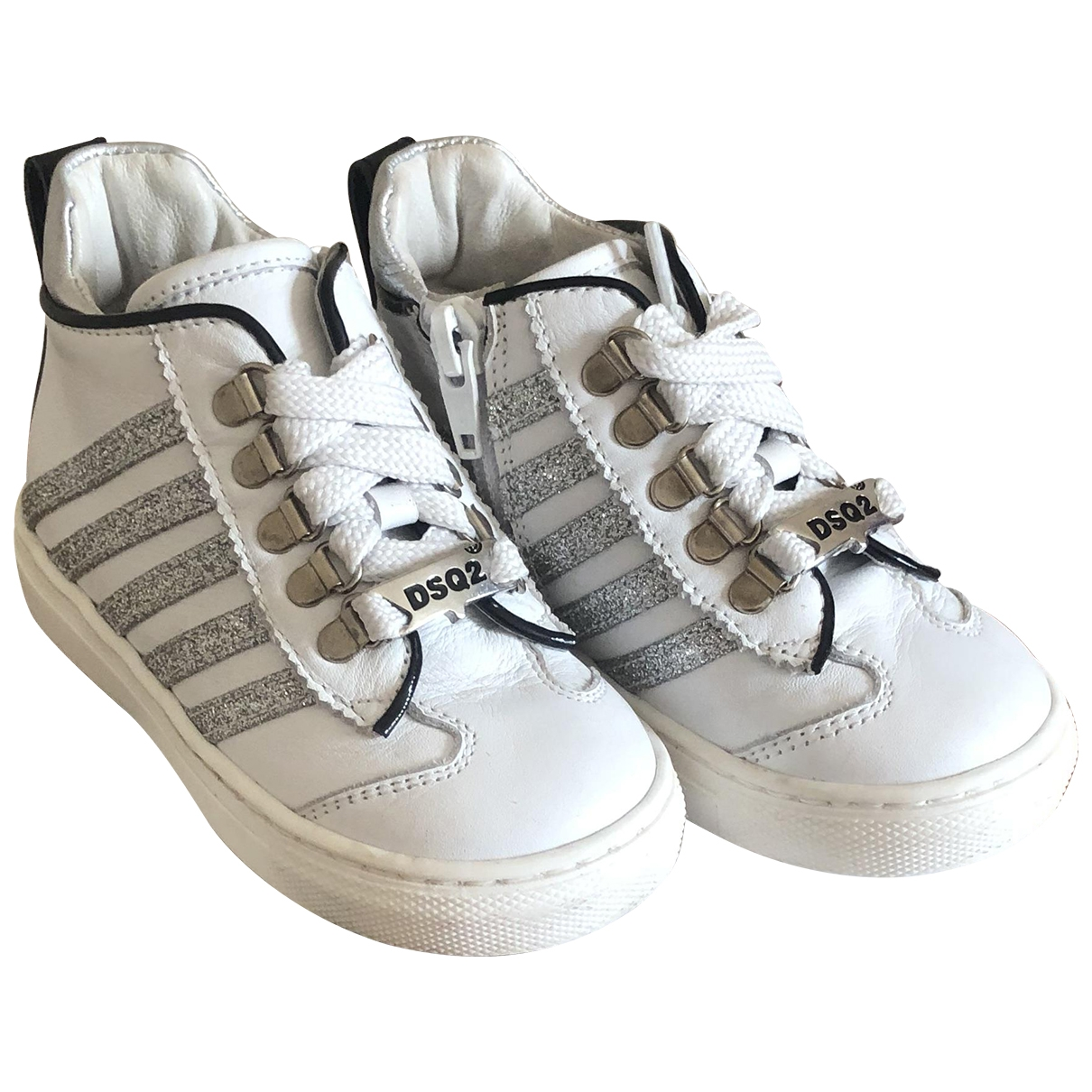 Dsquared2 \N White Leather Trainers for Kids 23 EU