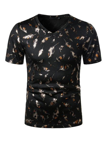 Milanoo T Shirts V Neck Feather Print Short Sleeves Tee Tops