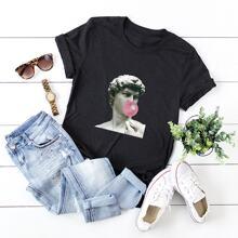 T-Shirt mit rundem Ausschnitt und Figur Muster