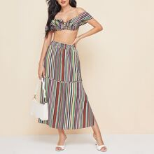 Knot Front Ruffle Trim Colorful Striped Bardot Top & Skirt Set