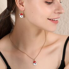 1pc Christmas Hat Charm Necklace & 1pair Earrings