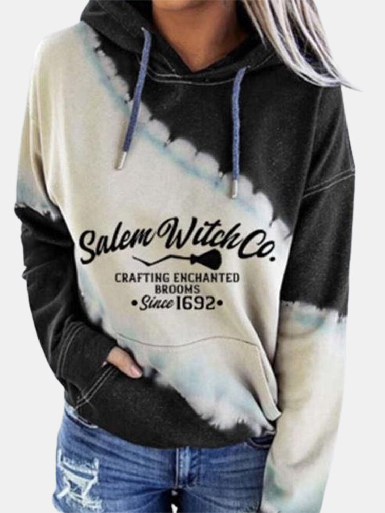 Tie-dyed Letter Print Long Sleeves Casual Hoodies For Women