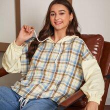 Jacke mit Reissverschluss, Klappe, Beuteltasche, Kordelzug und Plaid Muster