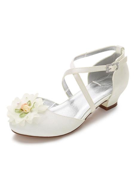 Milanoo Zapatos de Florista de puntera redonda de tacon gordo 3cm con flor para chica