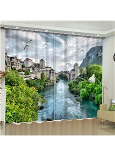 Flowing River with Retro Town Printed Custom Polyester Blackout Curtain for Living Room