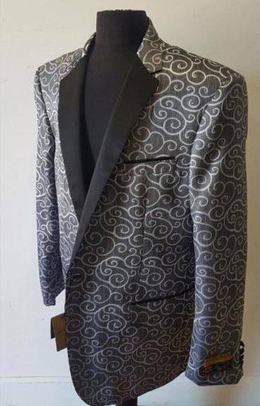 Floral Sportcoat Shiny Fashion Blazer For Men Charcoal Dinner Jacket