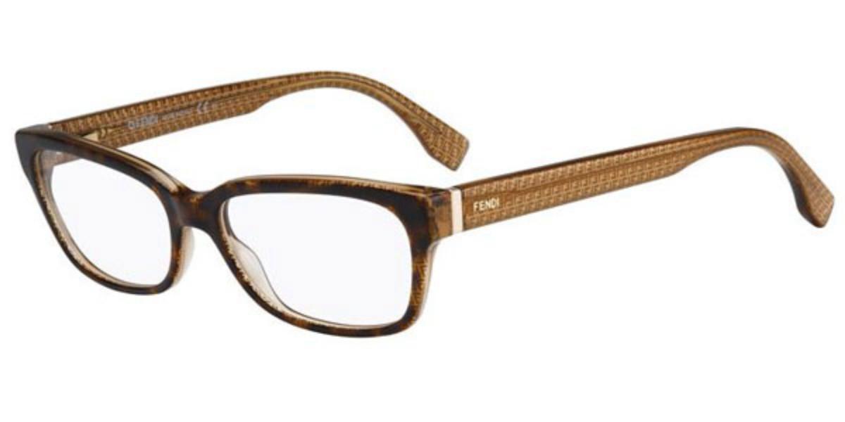 Fendi FF 0004 MICROLOGO 7PL Women's Glasses Brown Size 53 - Free Lenses - HSA/FSA Insurance - Blue Light Block Available