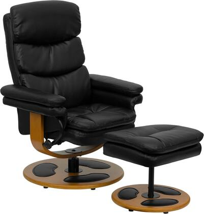 BT-7828-PILLOW-GG Contemporary Black Leather Recliner and Ottoman with Wood
