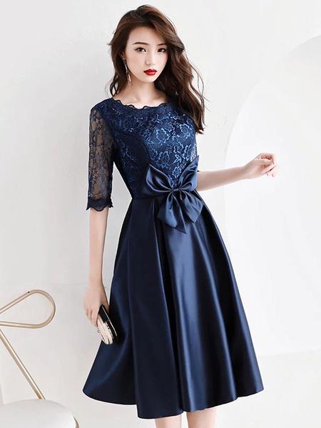 Milanoo Cocktail Dresses Lace Satin Half Sleeve Bows Tea Length Formal Party Dress