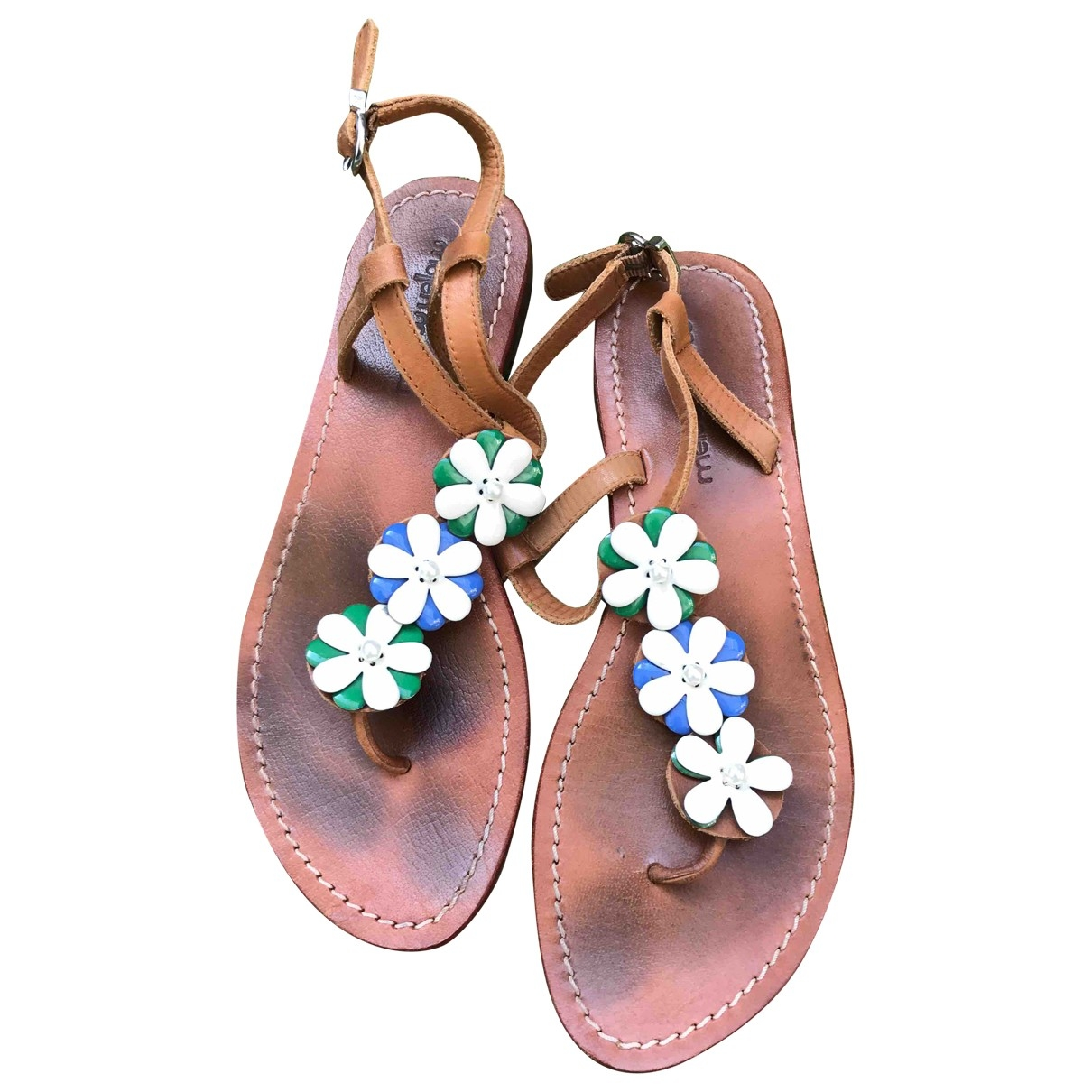 Mellow Yellow \N Beige Leather Sandals for Women 37 EU
