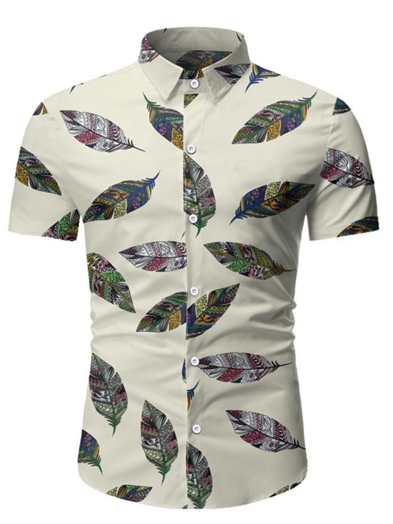 Ericdress Casual Lapel Color Block Mens Slim Shirt