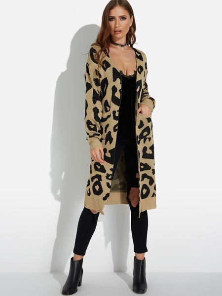 Yoins Khaki Side Pockets Leopard Long Sleeves Cardigan