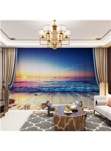 3D Decorative Seascape Sheer Curtains Gorgeous Sunset and Tide Printed 2 Panels Custom Sheer
