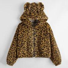 Cazadoras de talla grande Cremallera Leopardo Dulce