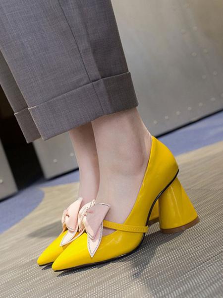 Milanoo De las mujeres Salon Dedo Puntiagudo Tacon ancho Lazos Amarillo Casual Zapatos de tacon de poliuretano